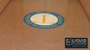 flooring epoxy flooring decorative quartz logo by liquid floors in atlanta ga tech logo