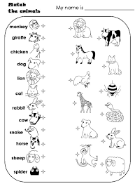 worksheets for preschoolers- matching animals | Match the animals ...