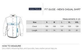Xl Size Chart India Indian Terrain Mens Casual Shirt Brown