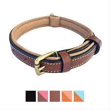 soft touch collars leather two tone padded dog collar