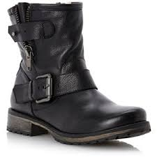 moto ankle boots. black leather promey side zip ankle biker boots moto