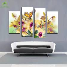 Oil Paintings For Living Room 4 Panel Oil Painting Picture Canvas Painting Butterfly Bule Flower