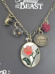 new disney beauty and the beast enchanted rose multi charm pendant necklace thumbnails above to enlarge
