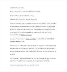 Rent Notice Letter Sample Late Rent Notice Form Ontario Payment Reminder Letter Sample Format