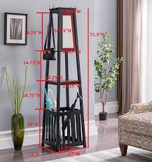 Cherry Finish Wood Hall Tree Coat Rack Kendall Black Cherry or White Wood Contemporary Entryway Hall Tree 94