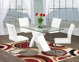 Modern Glass Kitchen Table Glass Dining Room Sets Light Oak Dining Set With White Glossy