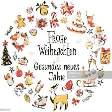 Corona Di Icone Natalizie Disegnate A Mano Con Scritta Buon Natale E Felice  Anno Nuovo In Tedesco Illustrazione stock - Getty Images