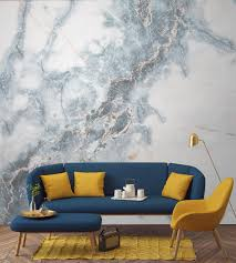 Wall Mural For Living Room Deep Blue Clouded Marble Wall Mural Powder Living Room Pillows