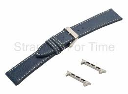 blue er jacket leather watch band for apple watch strapped for time