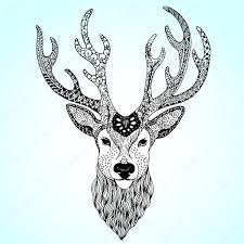 олень арт олень тату мехенди векторное изображение Vector Art