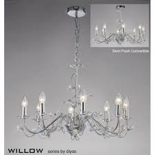 willow large 8 light polished chrome chandelier with crystal detail