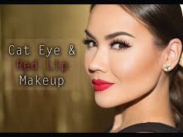 cat eye red lip makeup tutorial