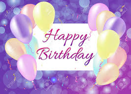 Happy Birthday Card With Balloons Streamers Purple Background