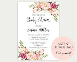 Do It Yourself Baby Shower Invitation Templates Baby Shower Invitation Template Baby Shower Invite Baby Shower Printable Floral Baby Shower Editable Pdf Diy Baby Shower Template C1