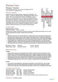 Cv Primary School Teacher Resume Format For Primary Teachers Teacher Cv Sample School Teaching