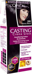 Loreal Casting Colour Chart Loreal Paris Casting Creme Gloss Hair Color Small Pack 200 Ebony Black