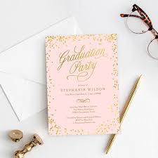 Graduation Announcements Template Shiny Confetti Graduation Invitation Template Editable Color