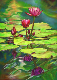 two waterlilies and their reflections oil 36 x48 painting size