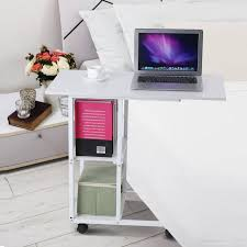 rolling office cart. Adjustable Rolling Laptop Desk Hospital Table Office Cart Over Bed Stand White P