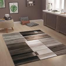 Teppich Kariert Gestreift In Braun Beige Dicht Gewebt Für Wohnlandschaft 120x170 Cm