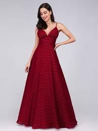 <b>Sexy V Neck Striped</b> Chiffon Party Dress