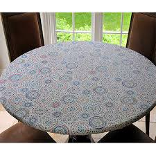 elastic edged flannel backed vinyl fitted table cover multi color geometric pattern large round fits tables up to 45 56 diameter covers for the