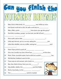 Baby Shower Game Finish The Nursery Rhyme Printable  FamilyEducationBaby Shower Games Nursery Rhymes