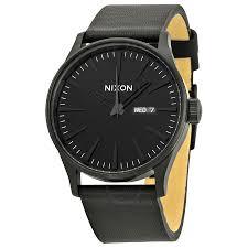 nixon sentry leather all black men s watch a105001