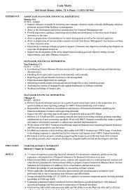 Manager Financial Reporting Resume Samples Velvet Jobs