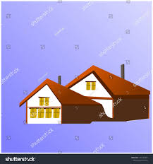 Sample Of Roof Design Sample House Built Cold Brown Roofs Stock Vector Royalty
