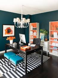 blue home office. Orange Combined With Other Bright Hues Gives This Home Office A Bold And Sensational Look! Blue I