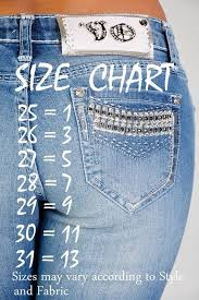 Jeans Size Chart Very Helpful