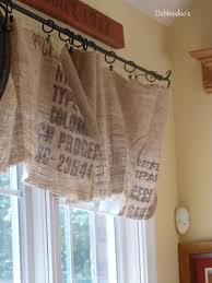 Kitchen Window Valances Diy No Sew Burlap Kitchen Valancesmade From Coffee Bags