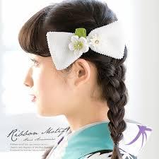 髪飾り 白 ホワイト 梅 剣菊 花 リボン 絞り つまみ細工 コーム 髪留め
