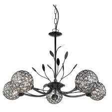 bellis ii 5 light ceiling pendant black chrome with clear