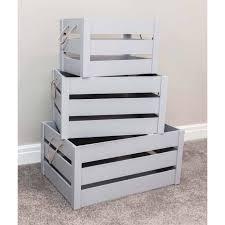 set of 3 grey crates