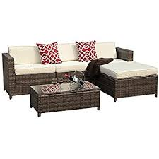 outdoor white furniture. plain white patioroma 5pc outdoor pe wicker rattan sectional furniture set with cream  white seat and back cushions and