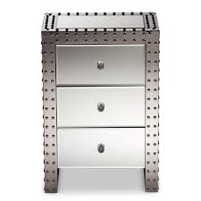 vegas white glass mirrored bedside tables. Vegas White Glass Mirrored Bedside Tables. Exellent Tables Baxton Studio Azura Modern And Contemporary Hollywood