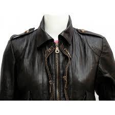 golden zipper women black leather coat