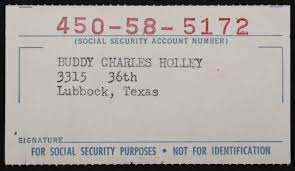 - Current Price Security Social Card 1000 Buddy Holly