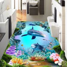 Free Shipping HD 3D Underwater World Cave Tropical Fish Bedroom Aquarium  Nursery Playground Floor Wallpaper Mural