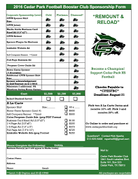 sponsorship forms for fundraising sponsorship cedar park football