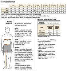 Mens Shirts Size Chart All Seasons Clothing Company