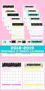 17 Month Calendar 17 Month Calendar 2018 2019 Modern Memphis Printables
