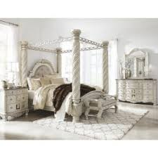 bedroom sets. Cassimore North Shore Pearl Silver Upholstered Poster Canopy Bedroom Set Sets