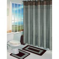 gray and blue shower curtain. bath set with nice curtain. i like neutral colors, brown gray and blue shower curtain