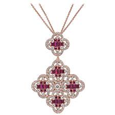 18kt white gold clover necklace pendant blue sapphire gemstones and white diamond at 1stdibs