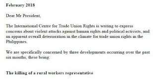 letter expressing concern read ictur s letter expressing concerns on trade union and human