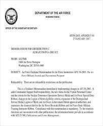 Military Letter Recommendation 6 Sample Air Force Recommendation Letter Free Sample