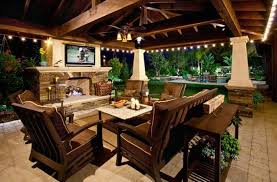 covered patio lights. Covered Patio With String Lights And TV O